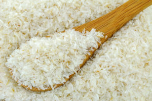 A spoon of dried psyllium husk fiber to relieve constipation, irritable bowel syndrome